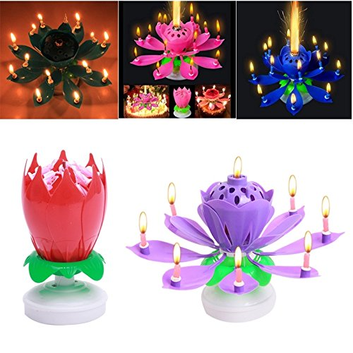 FomCcu Amazing Lotus Rotating Musical Candle Toy For Kids Happy Birthday Flower Magical Blossom Gift