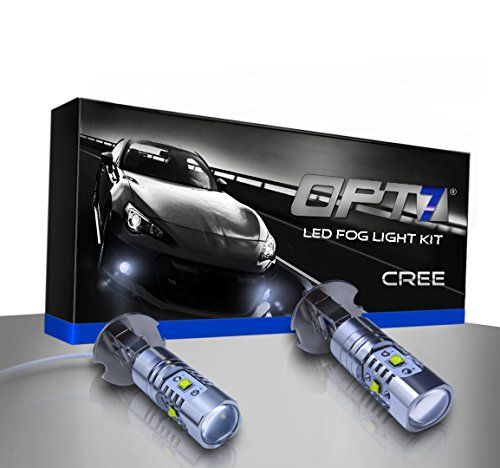 OPT7 H3 CREE LED DRL Fog Light Bulbs - 5000K Bright White- Plug-n-Play (Pack of 2) (Fog Lights For 2002 Lexus Es300 compare prices)
