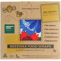 Guilt Free Pantry - Organic Beeswax Reusable Food Wrap - Medium Storage - Wraps Lunch - Easily Washable - Eco Friendly - Handcrafted With Natural Tree Resin - Organic Cotton - Cold Pressed Jojoba Oil