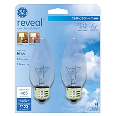 GE Lighting Reveal 48713 60-Watt Ceiling Fan Blunt Tip Light Bulb with Medium Base, 2-Pack