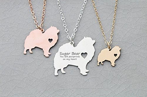 Pomeranian Pendant (Pomeranian Dog Necklace - IBD - Pompom - Personalize with Name or Date - Choose Chain Length - Pendant Size Options - 935 Sterling Silver 14K Rose Gold Filled Charm - Ships in 1 Business Day)