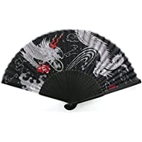 myKimono Mens Traditional Japanese Silk Handheld Folding Fan 025 with carry case
