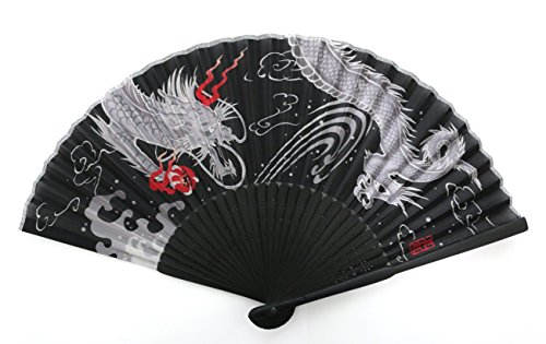 (myKimono Men's Traditional Japanese Silk Handheld Folding Fan 025 with carry case)
