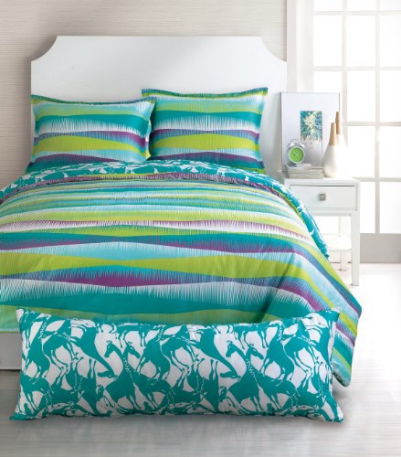 Trina Turk 2 Piece Vista Stripe Comforter Set, Twin, Blue