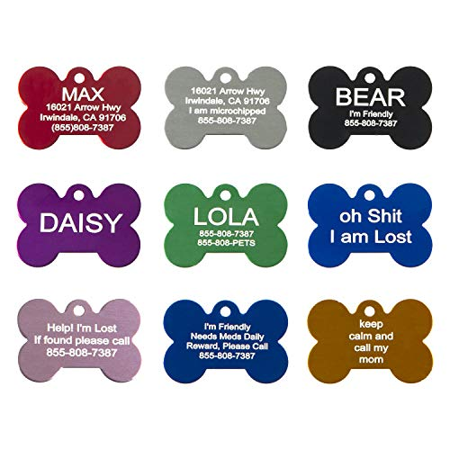 Aluminum Pet ID Tags - Engraved Personalized Dog Tags, Cat Tags Front & Back up to 8 Lines of Text - Bone, Round, Heart, Flower, Paw, House, Star, Rectangle,Shirt, Cat, Mouse ()