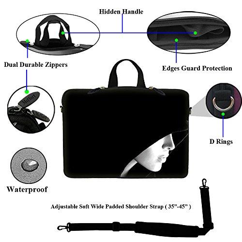 Laptoptasche, 17-17.3 Zoll, mit verstecktem Tragegriff und verstellbarem Schultergurt, inklusive Klebefolie im Messy-Word Designund Mauspad, neopren, Skull Face, 17.3 Inch Lady in Hood
