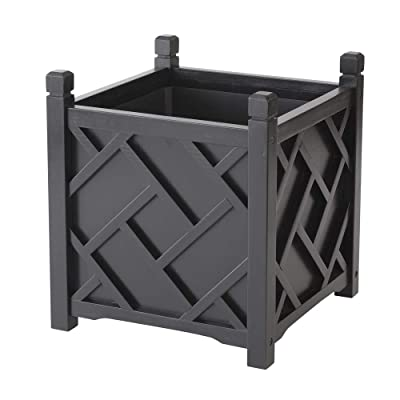 "DMC Products 70212 Chippendale Planter, 18"", Black : Wooden Planter Black Square : Garden & Outdoor"