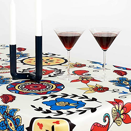 AHOLTA DESIGN Non-Iron Stain Resistant Easter Table Cloth - Fashionable Table Cover Perfect for Home Dining Room Table Protection - Stylish Indoor Outdoor (Rounds, Rectangular 60