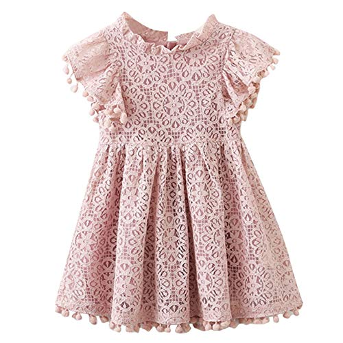 NNJXD Girls Sleeveless Lace Vintage Ruffle Sleeve Princess Birthday Party Dress 3-4 Years 02 Pink