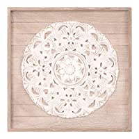 Patton Wall Decor 19x19 Hand Carved Medallion Wood Plank Framed Wall Decor, White