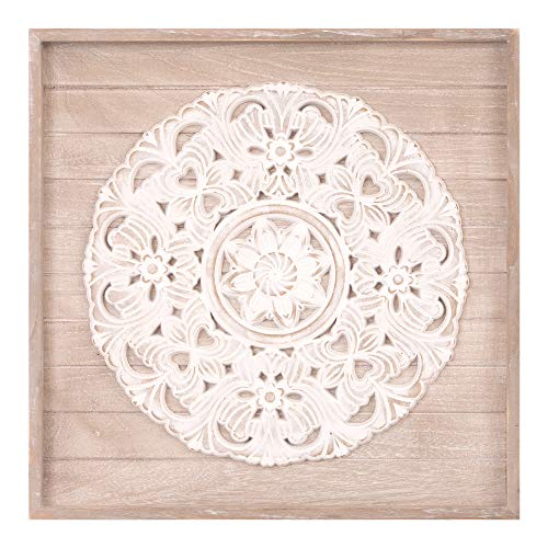 - Patton Wall Decor 19x19 Hand Carved Medallion Wood Plank Framed Wall Decor White