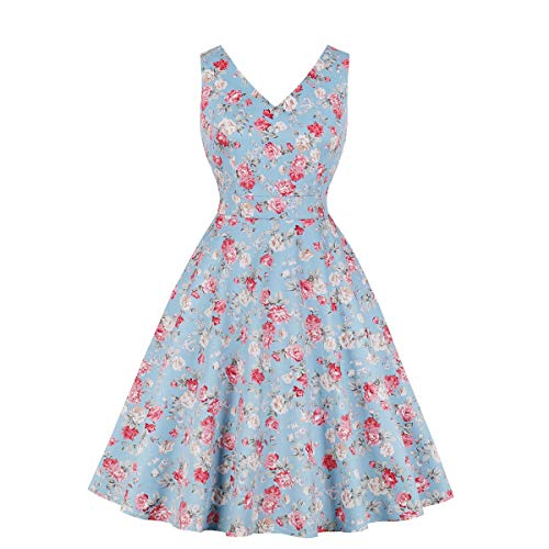 Wellwits Women's Casual Summer Floral Print Vintage Dress wtih Pocket Blue L