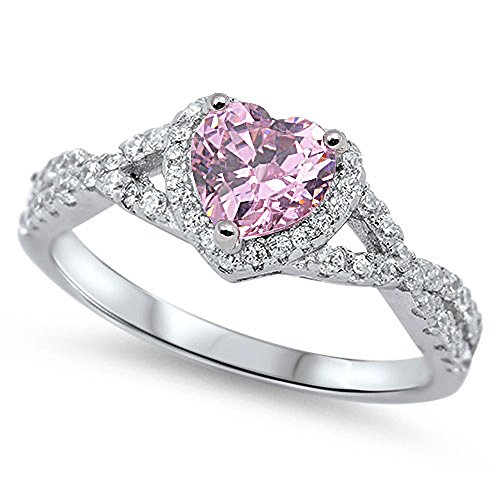 Oxford Diamond Co Sterling Silver Heart Halo Simulated Gemstone Promise Ring All Colors Available  Pink  Cubic Zirconia    Size 5