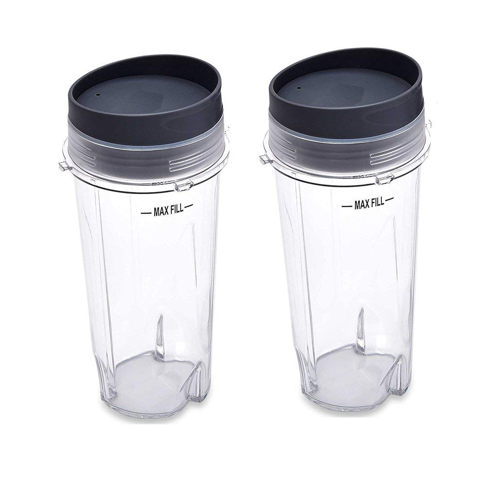 Joystar Replacement Parts for Nutri Ninja Blender, Two Pack 16-Ounce (16 oz.) Single Serve Cup for Nutri Ninja BL203QBK/BL208QBK/BL207QBK/BL206QBK/BL209/BL201C/BL201/BL200/BL100/BL101/BL102 (4)