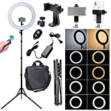 Fotoconic 80W 18 Inches / 48cm Bi-color Dimmable LED Ring Light with 6 feet Stand, 360 Degree Swivel Phone Holder and Bluetooth Remote for Studio Photo Video Portrait Selfie (2700K~5500K)