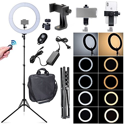 Fotoconic 80W 18 Inches / 48cm Bi-color Dimmable LED Ring Light with 6 feet Stand, 360 Degree Swivel Phone Holder and Bluetooth Remote for Studio Photo Video Portrait Selfie (2700K~5500K) (Portrait Satin White)
