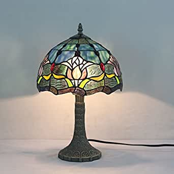 10 inch blue flower pastoral retro antique stained glass for 10 inch table lamp