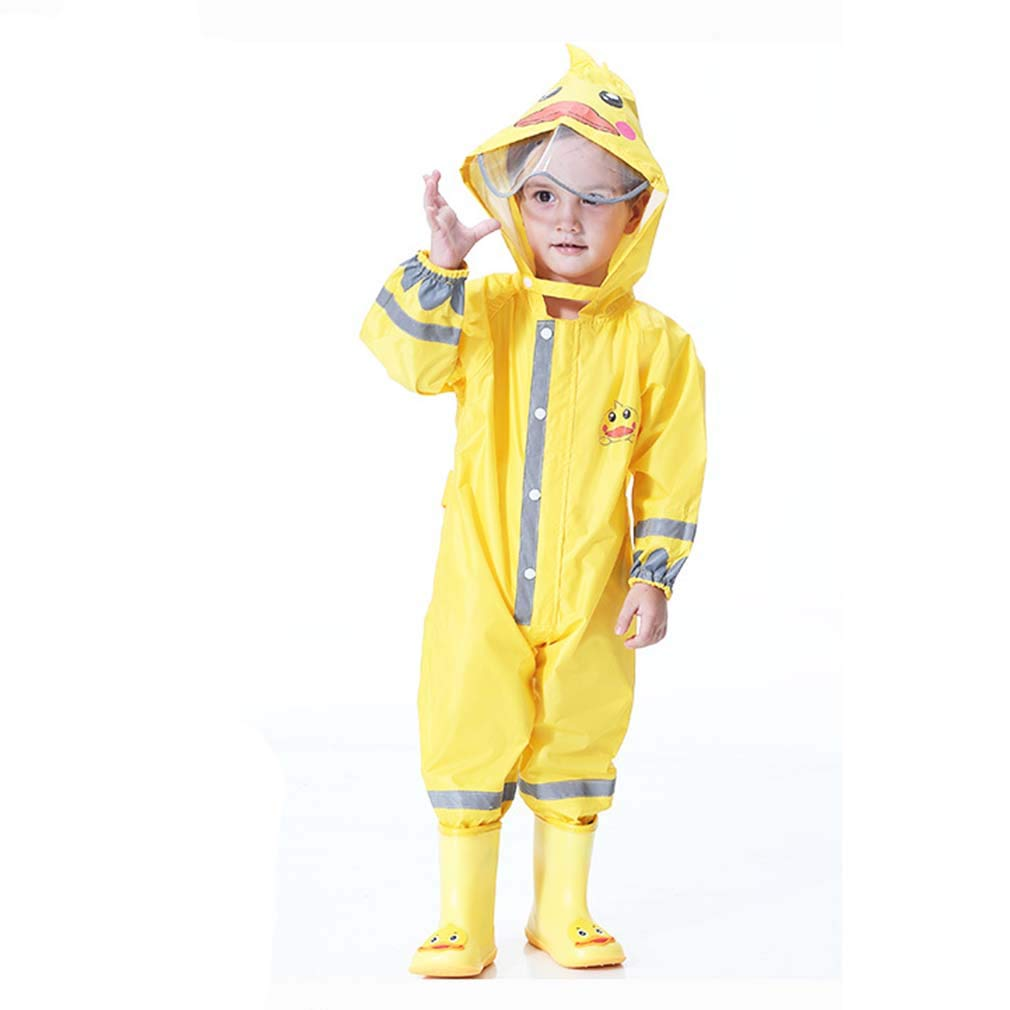 Wetry Waterproof Suit Child,Girls Boys Childrens Waterproof All in One Suit Animal Rainsuit Lovely Breathable,Green Frog