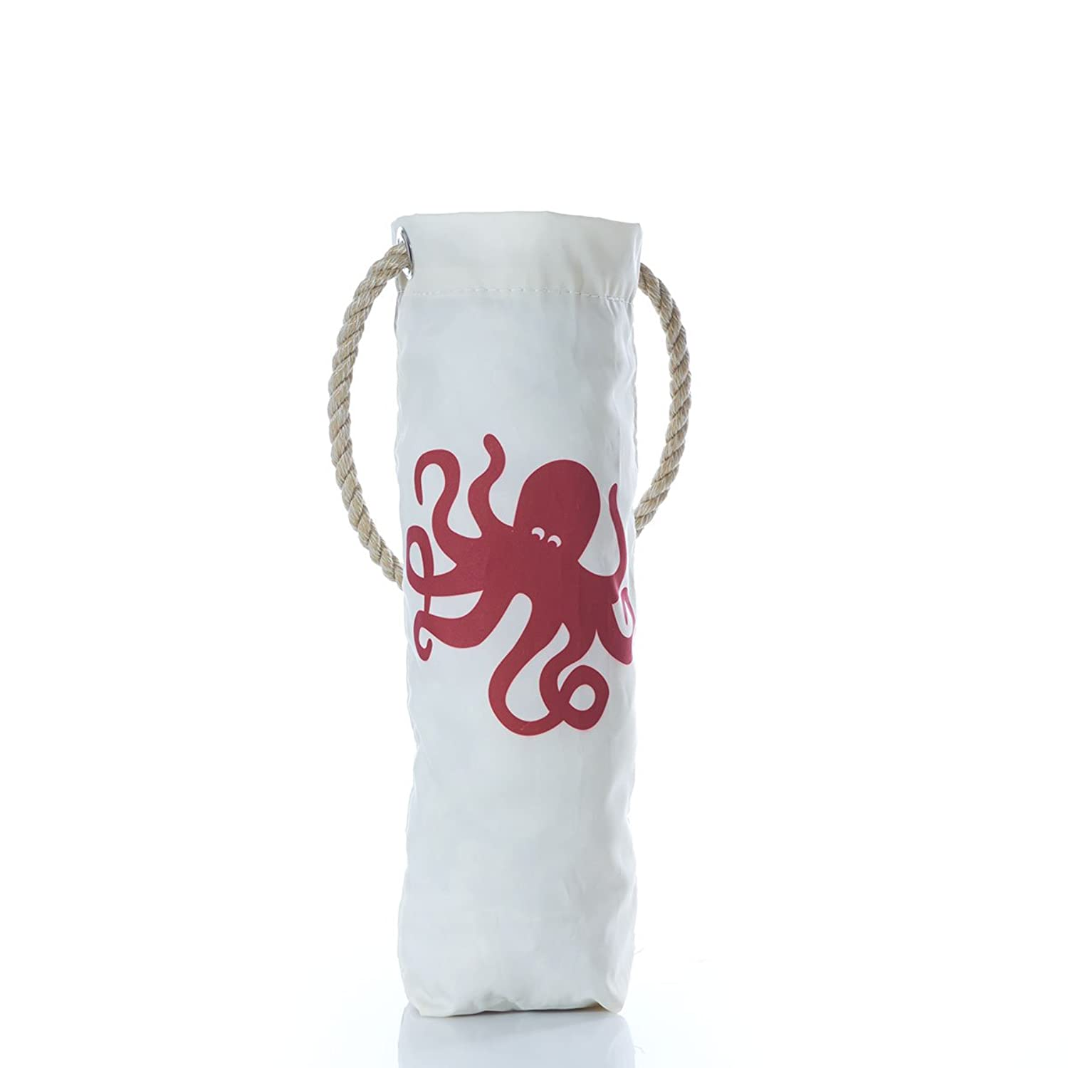"""Sea Bags Recycled Sail Red Octopus Print Wine Bag 12"""" h x 6.5"""" w"""