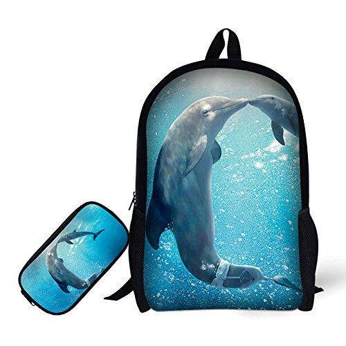 School Backpack, 3D Print Dolphin Pattern 17 Inch Bookbag with Pencil (Low Back Animal Print)