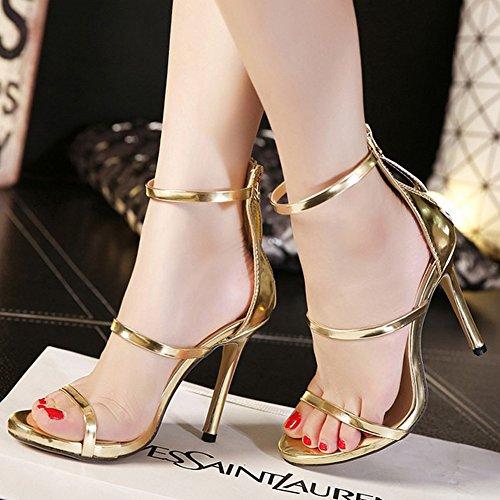 Fereshte Vrouwen Sexy Mode Eenvoudige Klassieke Achterkant Rits Enkelbandje Stiletto Hoge Hakken Sandalen Gouden