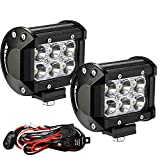 "YITAMOTOR Led Light Bar 2PCS 4"" 18W Square LED Work Light Bar Spot Led Pod light LED with Wiring Harness Waterproof for Jeep SUV Truck Car ATVs 4x4 4WD Boat Off road Driving Light 12V 24V"