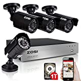ZOSI Home Security System 8CH HD-TVI 1080N DVR 4PCS 1280TVL 720P 65ft 20m IR Night Vision Outdoor Surveillance Waterproof IP66 CCTV Camera Kits with 1TB Hard Disk
