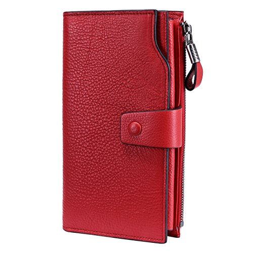 Itslife Women's RFID Blocking Large Capacity Luxury Wax Genuine Leather Cluth Wallet Card Holder Ladies Purse (Natural Red RFID BLOCKING)