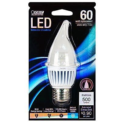 Feit EFC/DM/500/5K/LED 60W Equivalent Daylight Medium Base (E26) Flame Tip Chandelier LED Light by Feit