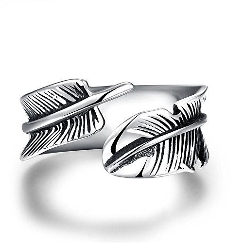 ATDMEI Wrap Feather Rings for Men Women Titanium Stainless Steel Vintga Size 11 Jewelry Gifts (Wrap Feather Ring)