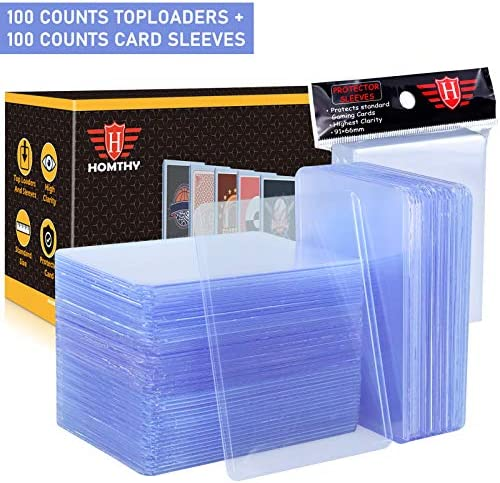 200 Counts Trading Card Sleeves TopLoader Set, Top Loader Penny Sleeves are compatible for Trading Card, MTG, Yugioh, Pokemon Card (Include 100 Thick Sleeves & 100 Soft Sleeves)