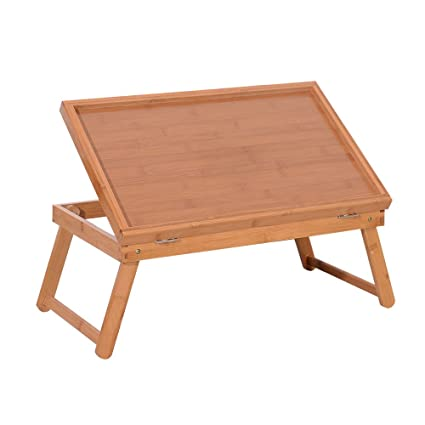 Azadx Bamboo Breakfast Tray, Top Adjustable Laptop Tray, Multipurpose Serving  Trays With Holding Legs