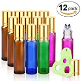 Olilia Glass Roll on Bottles with Metal Roller Balls - Essential Oils Key included 12 Pack of 10ml (1/3oz) (Gold Lids)