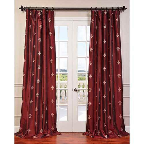 "HPD Half Price Drapes EFSCH-14086A-120 Embroidered Faux Silk Taffeta Curtain, 50"" x 120"", Trophy Syrah"