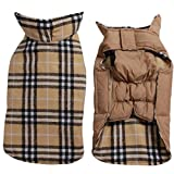JoyDaog Reversible Plaid Dog Coat(7 Sizes) Waterproof Windproof Warm for Cold Weather Dog Jacket Beige XXL