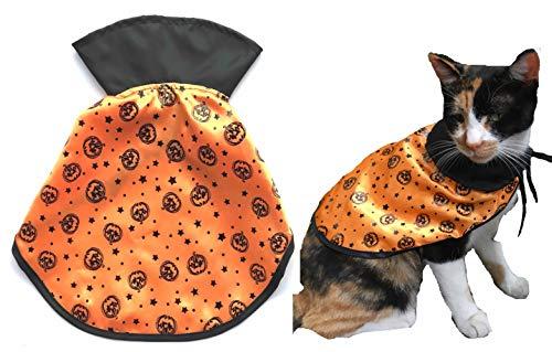 Lanyar Pumpkin Cute Hooded Cloak Witch/Wizard Halloween pet Pumpkin Costume for Small Dogs & Cat Kitten, Cat Costume -