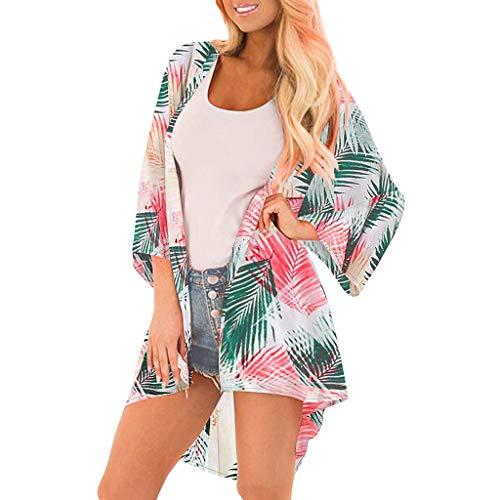 Yoyorule Autumn Pullover Top Womens Middle Sleeve Chiffon Print Sandy Beach Cardigan Smock Easy Blouse Tops Pink (Mock Crocodile Belt)