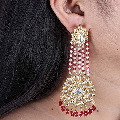Solid 22K Yellow Gold Natural 6.3 Ct. Polki Diamond Pearl Ruby Designer Kundan Meena Earrings Handmade Vintage Style Jewelry ()