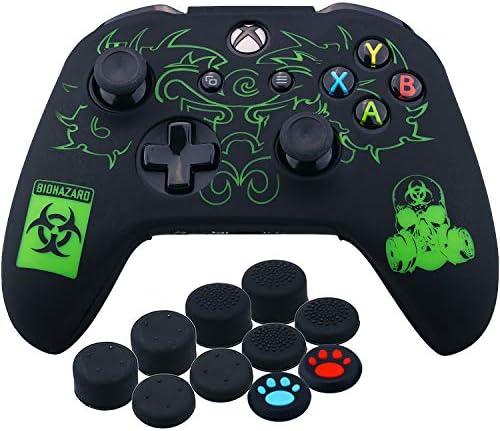 YoRHa Grabado Láser Silicona Caso Piel Fundas Protectores Cubierta para Xbox One S/X Mando x 1 (BH) con Los Puños Pulgar Thumb Gripsx 10: Amazon.es: Videojuegos