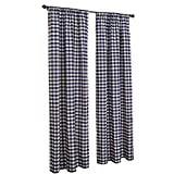 LGHome Christmas Buffalo Check Window Curtains, Pack of 2, Check Blackout Curtains for Bedroom/Living Room Decoration, Navy Blue and White, 53x96inch