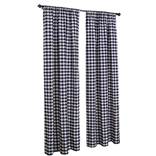 LGHome Christmas Buffalo Check Window Curtains, Pack of 2, Check Blackout Curtains for Bedroom/Living Room Decoration, Navy Blue and White, -