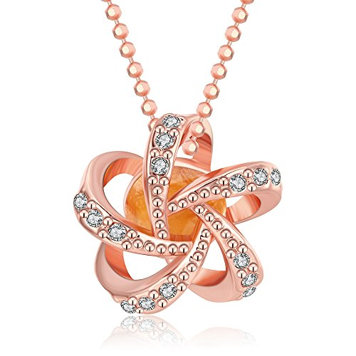 SDLM Austrian Crystal Inside Fancy Rose Gold Flower Mother's Day Gift Pendant Necklace