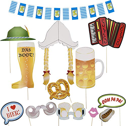 Oktoberfest Party Photo Booth Props with Checkered Bavarian