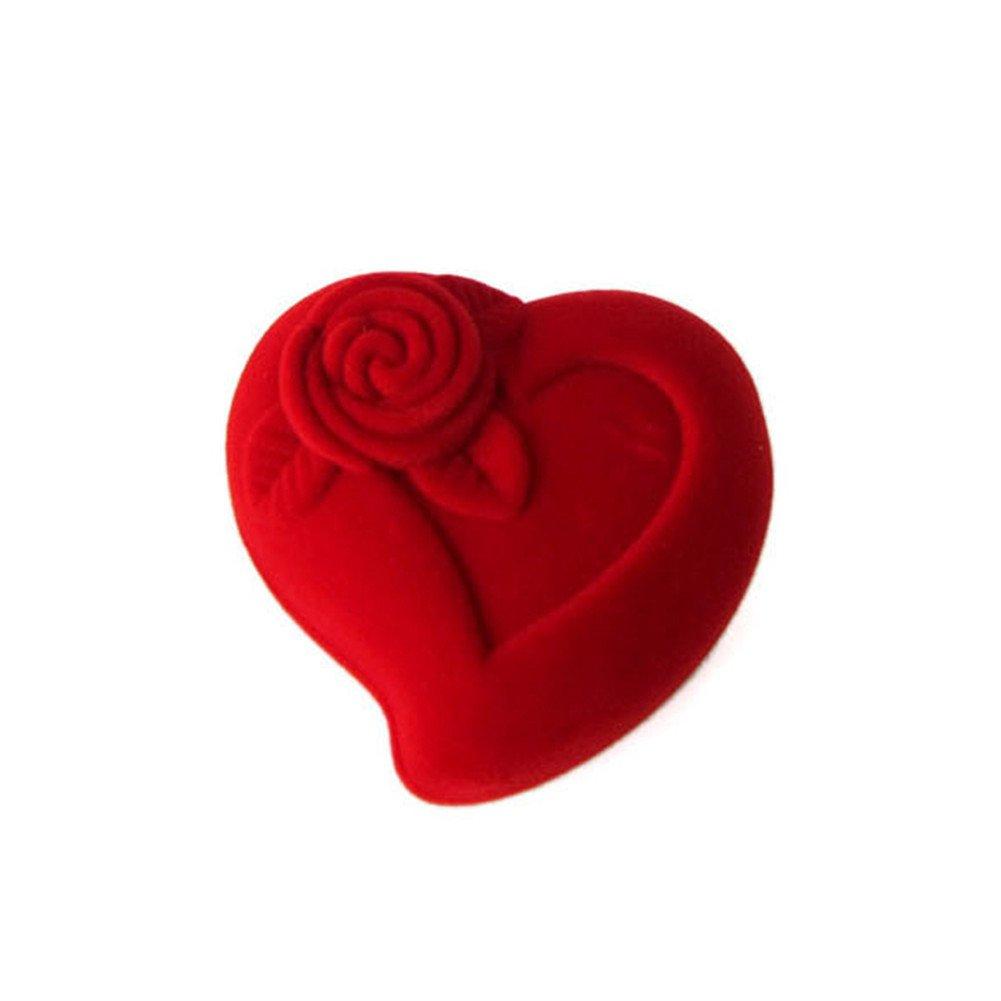 Leisial 1x scatola porta anelli a forma di cuore rosso di gioielli di fidanzamento matrimonio proposta Gift Cloth box per sposa regalo donna collana orecchini bracciali Storage box