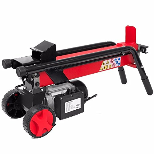 Red Electric Hydraulic Wood Log Splitter With Wheel Cut Wood Mobile Electrical 3400RPM Motor Speed 2HP Electric Motor 7 Tons RAM Splitting Force Powerful Portable Machine Cutter Durable Steel Material