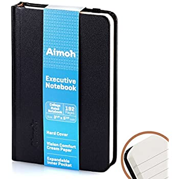 Executive Hardcover Classic RULED Notebook – SMALL -(College Ruled) 192 Pages, Elastic Closure, Size 5.1/2 x 3.1/2 - A6 Mini Size | Pocket, Travel (60153) - Black