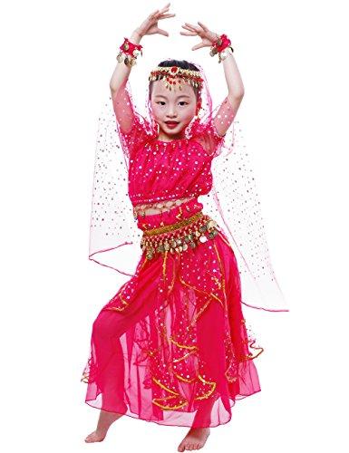 Astage Big Girls` Belly Dance Carnival Dancing Dress Hotpink L