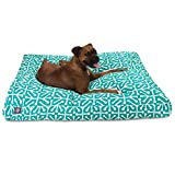 Large Teal White Geometric Pattern Dog Bed, Aqua Modern Fun Bold Print Pet Bedding, Rectangle, Features Waterproof base, Stain Resistant, Removable Cover, Sturdy Zipper Design, Polyester