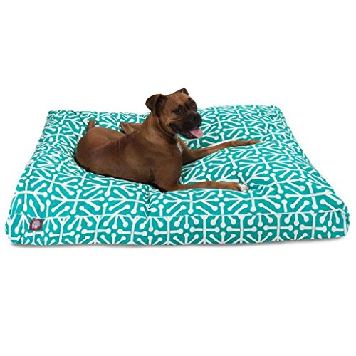 Large Teal White Geometric Pattern Dog Bed, Aqua Modern Fun Bold Print Pet Bedding, Rectangle, Features Waterproof base, Stain Resistant, Removable Cover, Sturdy Zipper Design, Polyester by N2