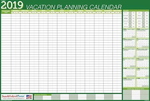 Vacation Calendar 2019 Amazon.: 2019 Vacation Planner (Green) Laminated, Erasable
